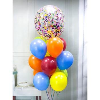 Γίγας Μπαλόνι με Κομφετί και 14  Πολύχρωμα Μπαλόνια  Λάτεξ 11΄